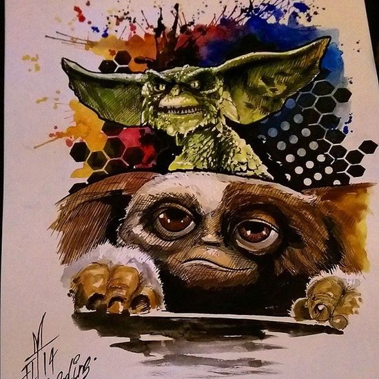 Gremlins Gizmo Tattooartist  Freehand Painting Fullcustomtattoo Torstenmatthes Watercolor Check This Out
