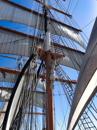Old Boat Sailing Ship Star Of India, San Diego, California, Tall Ship Blue Sky History Looking Up Low Angle View Mast Nautical Vessel No People Outdoors Rigging Sailboat Sailing Sailing Ship San Diego Maritime Museums Ship