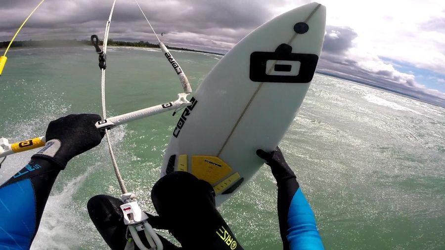 Woohoo Action Shot  Big Waves Blue Sky Cool Coolin Epic Excitement Extreme Goprohero4 Helmet Cam Joy Jump Kiteboarding Kiting One Man Only Surfboard Wood