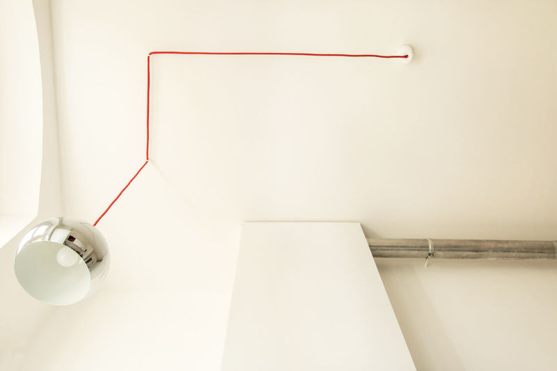 Berlin Ceiling Close-up Electric Lamp Industrial Industrial Lamp Lamp Lighting Equipment Man Made Object Modern No People Red Red Lamp Still Life Urban Urban Geometry White White Color White Kitchen