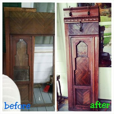 A client asked me to make a men's wardrobe valet for them. (Something to hang suits and ties on that would rest against the wall) - an open idea - however I wanted to do it. This is what I came up with... This was a vintage panel door from a jewelry store from the 1940s which I added a multiple trim pieces to give it height and visual interest. I also filled in the glass section with reclaimed wood. I can create custom projects for you from so many different things - how can we work together to create a one-of-a-kind project for you? Hingestore Homedecor BeforeAndAfter  Reclaimedwood upcycle wood cherry customwork oneofakind furniture madebyhinge