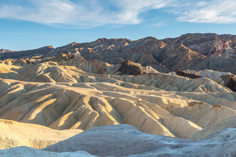 Looking out over the rocky landscape of Zabriskie Point in Death Valley, with evening light Beauty In Nature Scenics - Nature Landscape Sky Mountain Tranquil Scene Environment Non-urban Scene Tranquility Cloud - Sky Physical Geography Nature Rock No People Idyllic Remote Day Geology Sunlight Arid Climate Outdoors Climate Formation Zabriskie Point Death Valley Death Valley National Park Evening Light Desert California