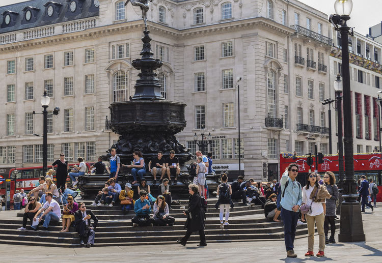 People At Shaftesbury Memorial Fountain On Piccadilly Circus