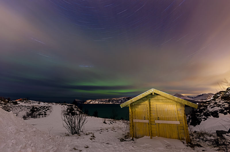 Snow Cold Temperature Winter Sky Tranquility Nature Night Landscape Astronomy Aurora Borealis Northern Lights Norway Sommarøy Long Exposure Startrails