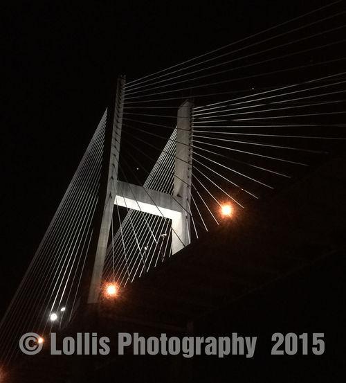 Talmadge Bridge Talmadge Memorial Bridge from the river at night. Night View Of Bridge Bridge Savannah Georgia