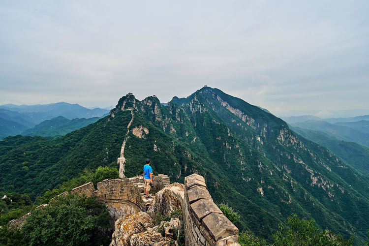 High angle view of man standing on great wall of china