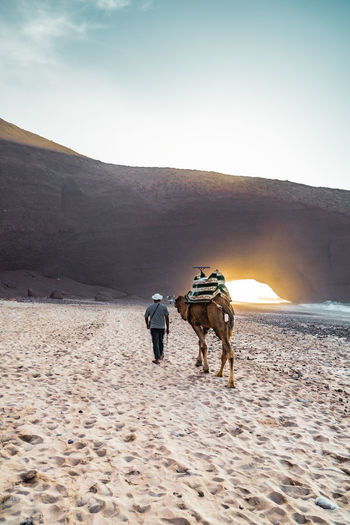 People riding horse on sand against sky