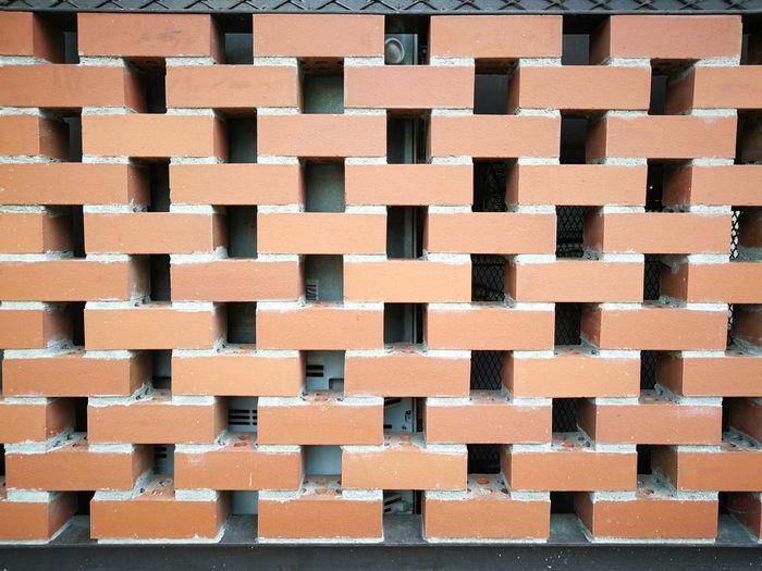 Brick background Brick Building Frame Backgrounds Full Frame Orange Color Order Repetition