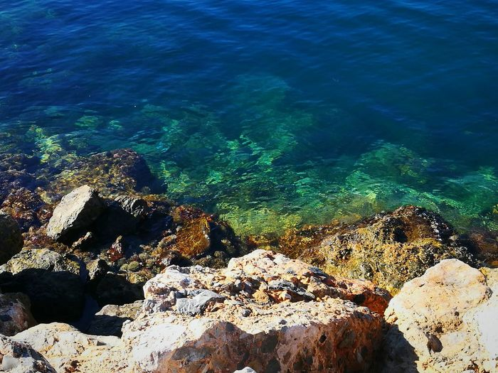 Agua clara Aguadulce Almería Southernspain Mediterranean  Harbor Reflection Clear Water Sunlight Rocks Sea Water Nature High Angle View Underwater UnderSea Beach Beauty In Nature Day Outdoors No People Scenics Close-up