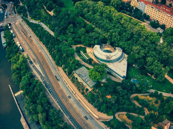 Aerial view of havas building in prague expo 58