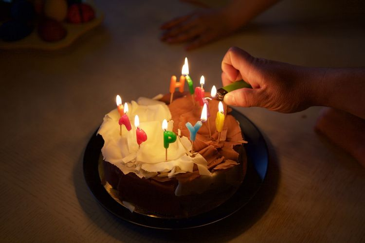 Birthday Cake Burning Candle Celebration Close-up Cultures Flame Glowing Healthy Lifestyle Illuminated Preparation  Table