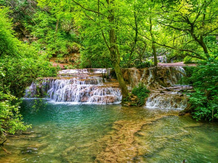 Day Outdoors Beauty In Nature Green Color Nature No People Landscape Water Forest Waterfall