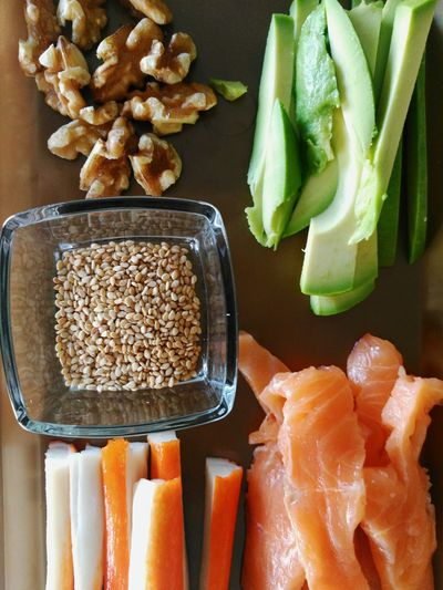 EyeEm Selects Healthy Eating Food Food And Drink Raw Food Indoors  Freshness Seafood Healthy Lifestyle No People Close-up Day Sesame Seeds Avocado Salmon Sashimi Salmon - Seafood Walnuts Surimi Food Stories
