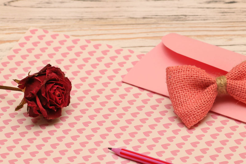 Happy Valentines Day ;) Table Still Life Indoors  High Angle View No People Red Paper Close-up Art And Craft Creativity Emotion Pink Color Pattern Rosé Love Positive Emotion Valentine's Day  Heart Shape Envelope Congratulate Copy Space