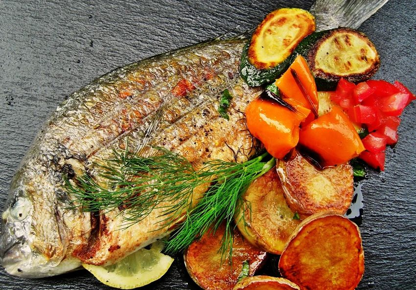 Close-up Day Dorade Royal Food Food And Drink Freshness Grilled Potato Grilled Vegetables Healthy Eating High Angle View Indoors  Lemon Slice Meat No People Plate Ready-to-eat Seafood SLICE Table Visual Feast