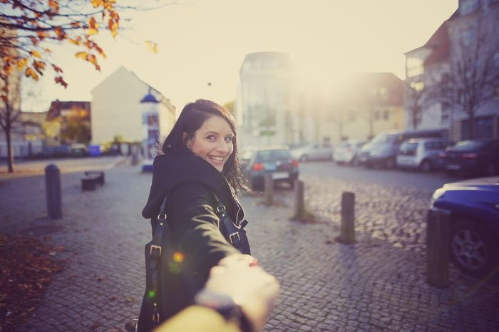 Looking At Camera Real People Portrait Building Exterior One Person City Beautiful Woman Built Structure Architecture Young Women Smiling City Life Young Adult Outdoors Beauty Women Happiness One Woman Only Day Scarf Rostock 2017 Ostsee Love