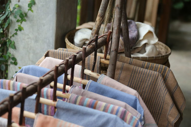 Abundance Architecture Close-up Day Drying Focus On Foreground Hanging In A Row Large Group Of Objects Nature No People Outdoors Seat Selective Focus Textile Wood - Material Wool