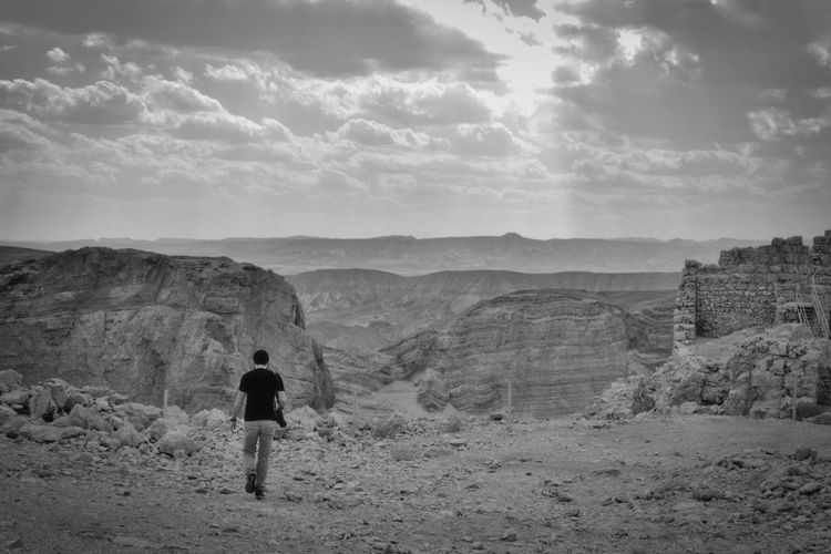 Walking alone Palestine Perspectives On Nature Adventure Beauty In Nature Landscape Masada Mountain One Person Walking