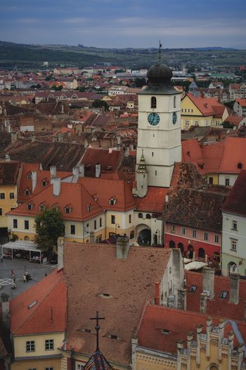 Old town Sibiu Sibiu Travel Destinations Bell Tower Building Exterior Architecture Built Structure Building City Residential District Roof High Angle View Crowded Crowd Town Cityscape Community Sky Outdoors TOWNSCAPE House Nature