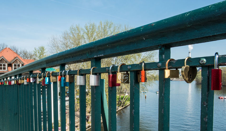 Blue Sky Bridge Close-up Day Handrail  Love Love Lock Love Locks Love ♥ No People Outdoors Sky Spree Water