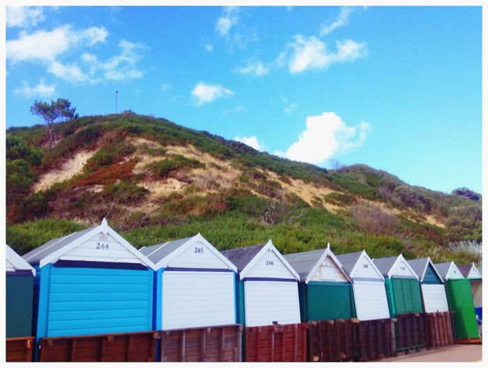 Beach Beachphotography Huts Beachhut Triangle Hill Bluesky Blue Sky Colours Southhampton.