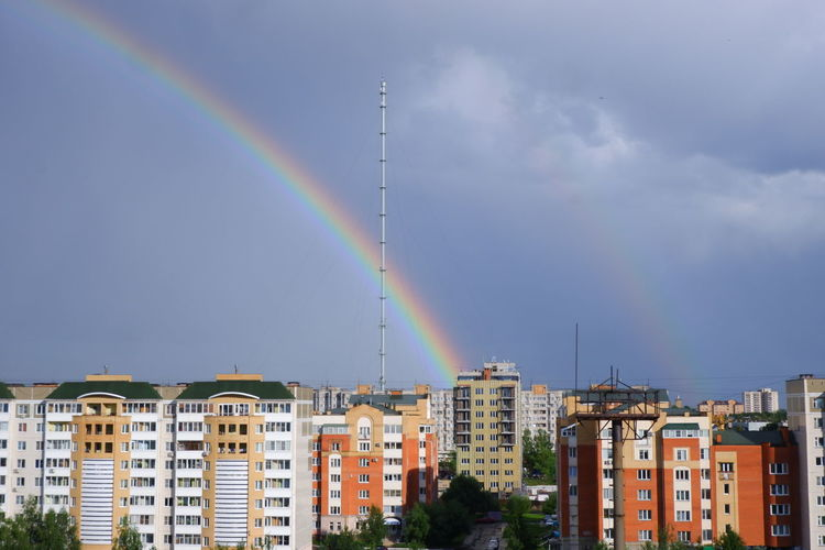 Obninsk meteorological tower and rainbow