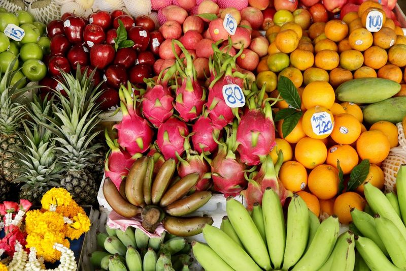 Fruit Freshness Healthy Eating Market Red Retail  Large Group Of Objects Market Stall No People Food Outdoors Day Close-up Ananas Bananas Fruits Tropical Fruits Exotic Fruits Apples Market