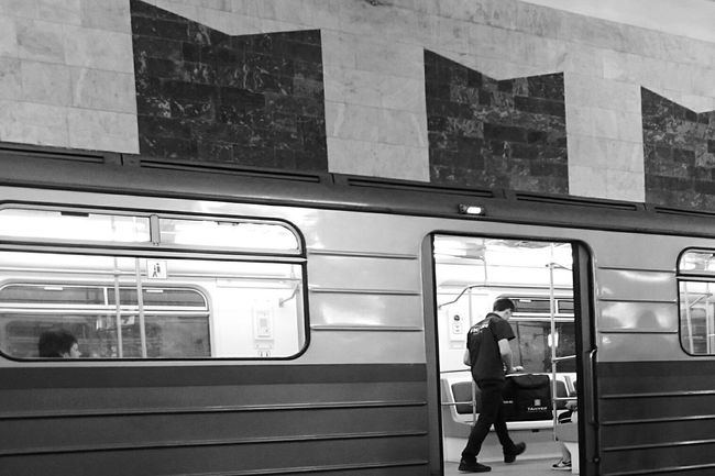 Mobilephotography Blackandwhite Underground Metro Urban Geometry Train