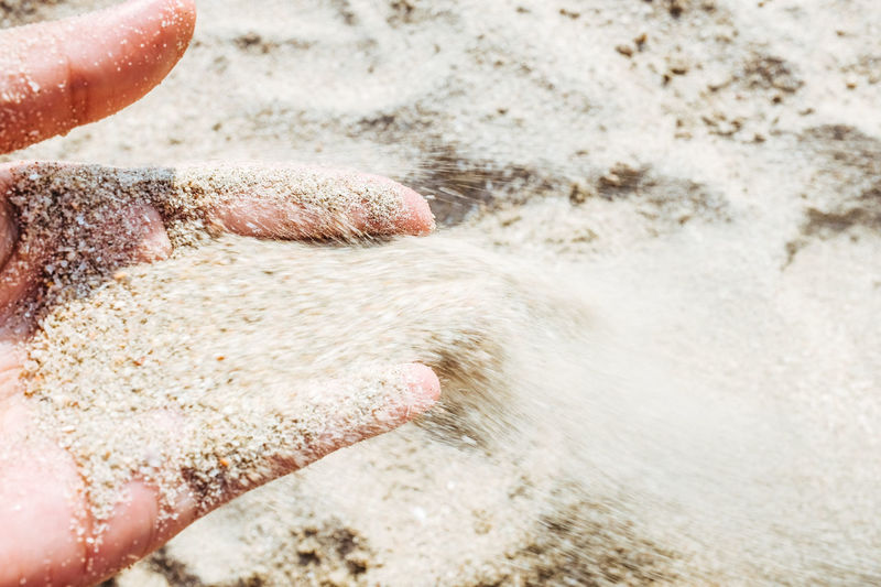 Wind blows the sand. Beach Hand Lifestyles Nature Outdoors Personal Perspective Sand Shore