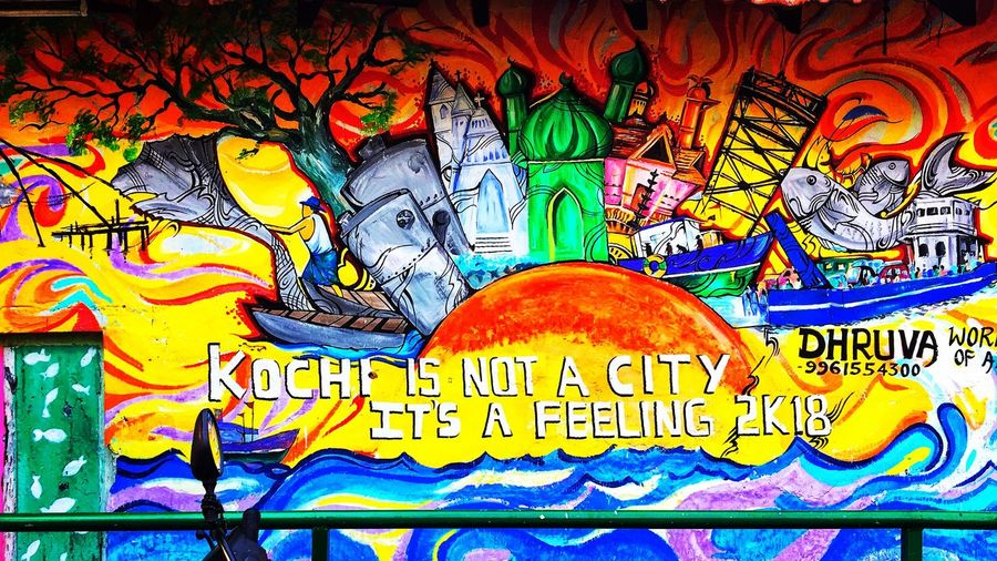 Kochi❤️❤️ Multi Colored Text Backgrounds Close-up No People Day Painted Image Outdoors