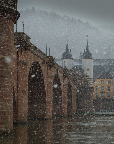 snowing Alte Brücke Architecture Bridge Famous Place Heidelber Historic Historical History Old Snow ❄ Snowing Winter Wintertime