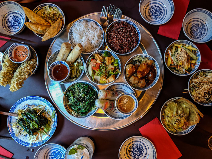 Food And Drink Table Food Choice Bowl Freshness Variation High Angle View Wellbeing Still Life Large Group Of Objects Chinese Food Vegetable Directly Above Thai Food Vegetarian Food Vegan Food Ready-to-eat No People Serving Size Indoors  Meal Dinner Rice Rice Noodle  Healthy Eating