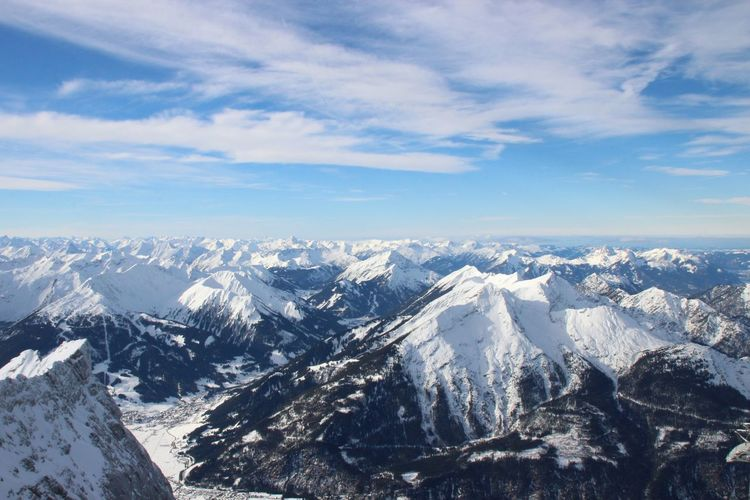 Zugspitze in Austria/Germany 😍 Tirol  Alps Alps Austria Zugspitze Nature Photography Mountains Mountain View EyeEm Selects Snow Winter Cold Temperature Aerial View Mountain Outdoors Landscape No People Day Scenics Nature Beauty In Nature Sky Shades Of Winter