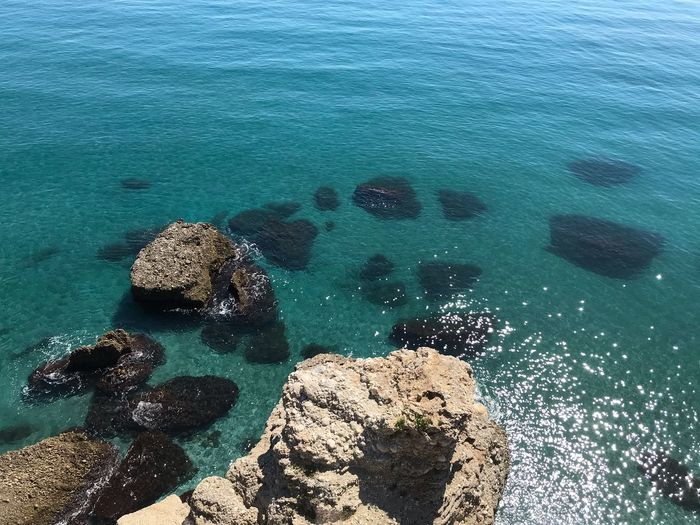 EyeEm Selects Water Sea High Angle View Beauty In Nature Nature Turquoise Colored Rock No People Beach Tranquility First Eyeem Photo