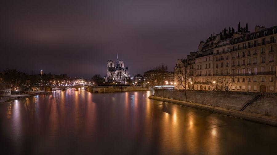 Architecture France Nightphotography Notre Dame De Paris Paris Paris, France  Riverside Seine River UNESCO World Heritage Site Architecture Building Exterior Built Structure City History Illuminated Long Exposure Nature Night Sky