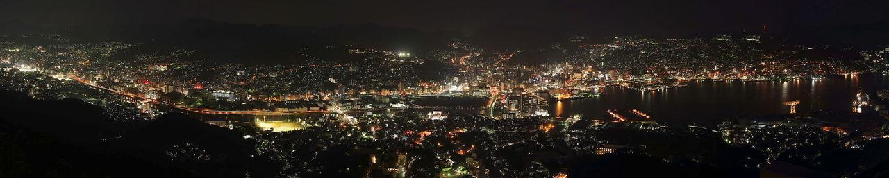 稲佐山からの夜景をパノラマ風に合成(笑) Panoramic Photography パノラマ Night View 夜景 夜景写真 稲佐山 稲佐山展望台 Illuminated City