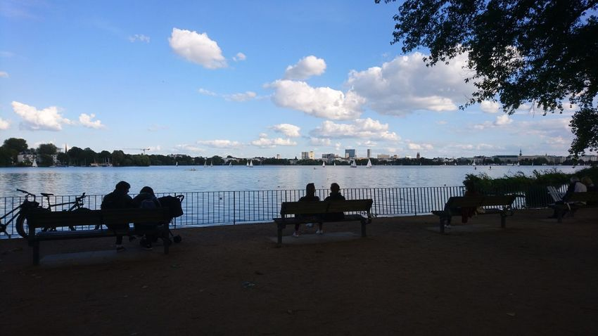 Außenalster. Hamburg Germany Hh Alster Außenalster Alster River River Water Waterfront Silhouette Silhouettes People People Watching Summer Summer in the City Blue Sky Clouds Clouds And Sky Shade Trees Urban Nature Water Tree Sea Beach Silhouette Sky Cloud - Sky
