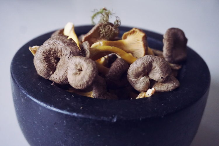 Close-Up Of Edible Mushrooms In Bowl On Table