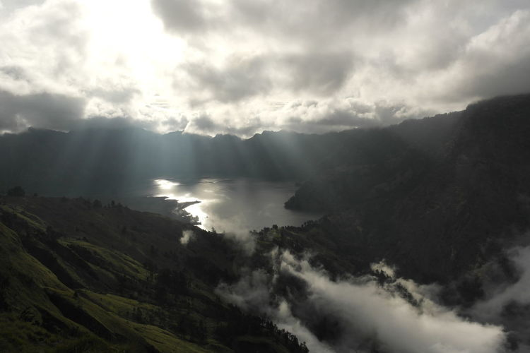 Clouds Crater Heaven High Section INDONESIA Landscape Lights Lombok Mountain Nature Outdoors Rinjani Scenic View Scenics Segara Anak Lake Sembulan Sky Sky And Clouds Sunlight Sunshine Tranquil Scene Tranquility Tree Trekking Water