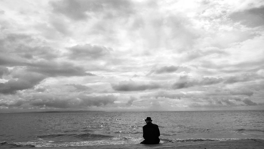 The Old man and the Sea . Blackandwhite Monochrome Black And White Sky People Nature Odetomycity Myalbania