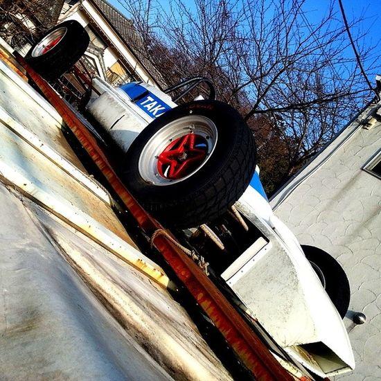 Racecar Vintage parked on a garage roof in Totsuka Yokohama kanagawa Japan