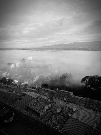 Artena, RM Aerial View High Angle View Outdoors City Cityscape Cloud - Sky No People Day Urban Skyline Scenics Nature Sky Nature Foggy Morning Foggy