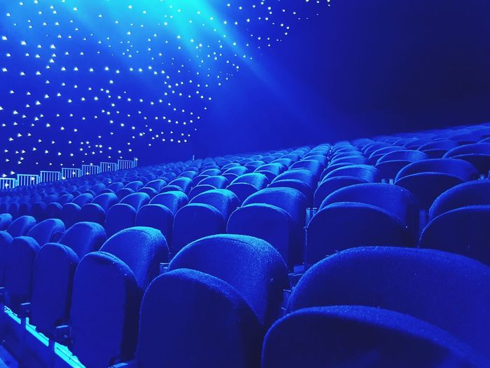 Emptiness Lonely Loneliness Loneliness And Sadness Loneliness In A Picture Art Depression Blank Blue Auditorium Seat Blue Film Industry Music Concert Empty In A Row Entertainment Ceiling Light  Narrow Pillar Theater Stage Light Concert
