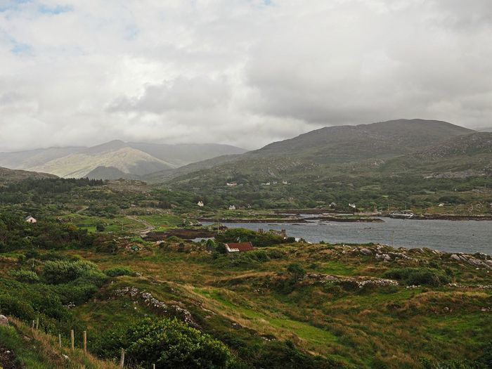 A small bay in the near of the Hag of Beara lighthouse, Ireland Grass Green Ireland Travel Beauty In Nature Day Hill Hillside Idyllic Landscape Nature No People Outdoors Scenery Scenics Sky Tranquil Scene Tranquility Water First Eyeem Photo
