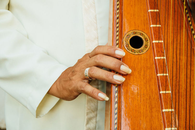 Close-up of person playing harp