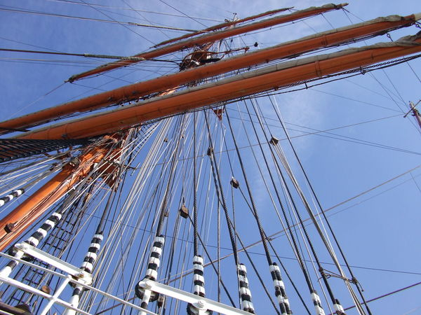 We have wind. Set the sails! Low Angle View No People Outdoors Day Ship Sailing Ship Nautical Vessel Ships Ship Details Sailing Ships Sailing Vessel Blue Sky Cable Blue Color Blue Sea Transportation Historical Lübeck-Travemünde Germany