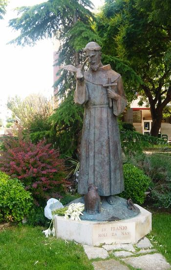 A Statue of Saint Francis in the City of Šibenik Park Monument Sibenik Croatia Saint Francis Statue Tree Sculpture Statue Grass Sculpted
