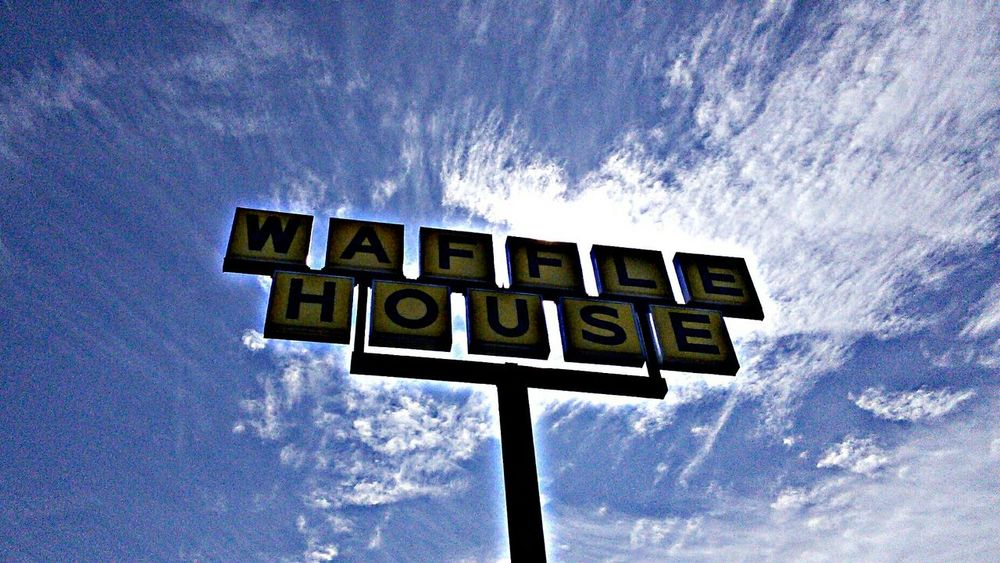 At the Waffle House again... Sign Clouds And Sky