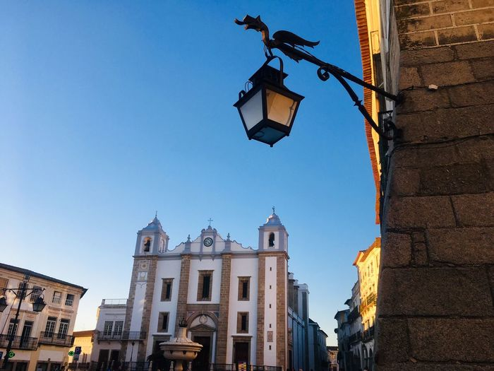 Church in Giraldo Square Giraldo Square Portugal Évora  Church Architecture Architecture Building Exterior Built Structure Low Angle View Building Sky Street Light Place Of Worship Clear Sky City Spirituality Religion