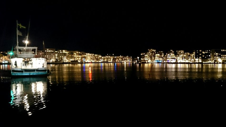 Waiting for the Boat Night Scene Hammarby Sjöstad Sjöstadstrafiken Cityscape Illuminated Illuminated City